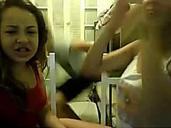 little lesbians kiss in webcam