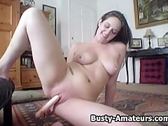 Busty amateurs Jennifer playing her pussy with toy