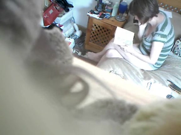 Masturbating while spying people from garage