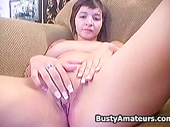 Busty Vanessa jerks on pussy