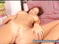 Busty Weny on bedroom masturbation