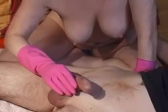 Handjob rubber gloves messy