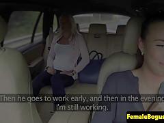 euro cabbie gal tribbing passenger after oralsex