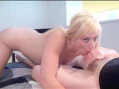 Voyeur blowjob and bedroom masturbation of blonde upskirts babe Axa Jay in oral sex and handjobs for peeping watchers