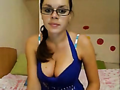 cute girl with glasses on webcam