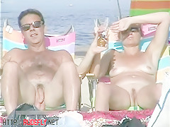 Hot from a nude beach voyeur with naked skinny chicks