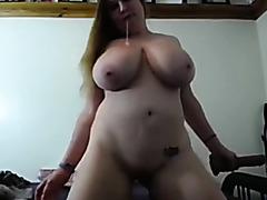 Amateur brunette blowjob video made with a huge dildo