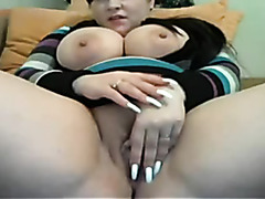 Playing with my tits during amateur webcam chat