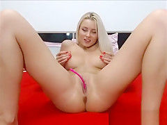 Blonde chick naked teasing pussy in webcam chat