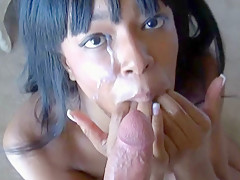 Hot Sticky Cum On Her Black Face - RealBlackExposed