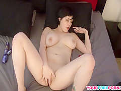 Sexy Babe With Huge Tits Plays With Her Toys