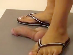 She stands on his dick in flip flops then does it more bare