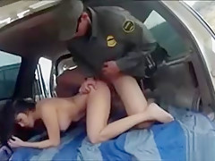 Busty latin floozie screwed by BP agent on the border