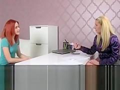 Blonde agent recording lesbian casting