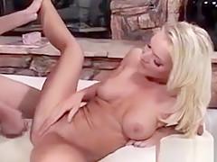Hottest blonde pornstar Barbara Summer spreading her cheeks
