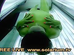 Solarium Cam Hot Milf masturbates on Public Live Voyeur Solarium