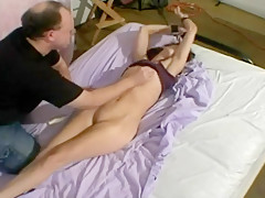 slim girl strip tickling vibe orgasm handjob cum on face