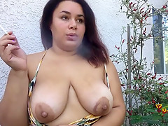 Slutty BBW Smoking Topless