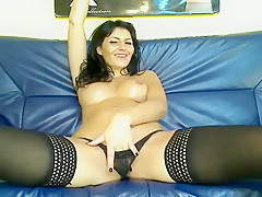Busty Brunette In Lingerie And Stockings Fingers Pussy Part 05