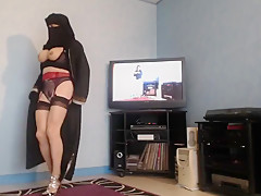 gros cul de musulmane voilée en porte jerretelle