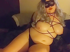 cute oiled BBW tease rubs bound tits and fingers pussy