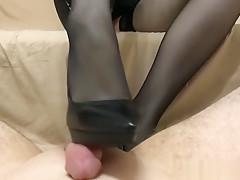 High heels footjob - cum on shoes