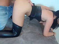 Brunette in Wetlook Skirt and Stockings Fucked from Behind