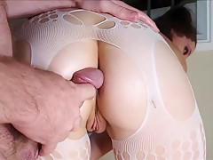 Juicy Standing Anal Fuck: Throated Teen Slut Fucked In Bodysuit & Heels