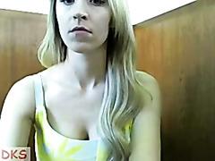 Naughty blonde gets naked on webcam