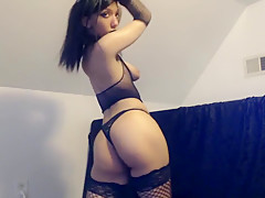 Goth Dances and Strips Her Fishnet Lingerie