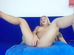Hot blond girl squirts in front of camera