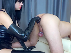 Femdom prostate milking in chastity belt with strapon cum in ass my slave