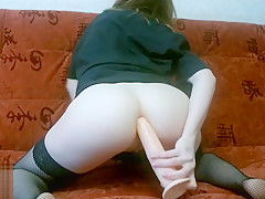Redhead babe fucks herself with a dildo in the ass - RedPlanetLust