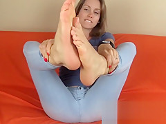 My barefoot natural toes and nails with feet and soles close
