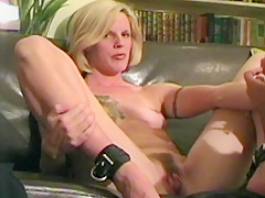 Smiley blonde MILF strips and submits to punishment.