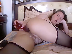 Naughty Girl has Dildo in her Ass and BF on the phone