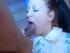 Naughty girl smoking and sucking bbc