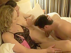 hubby sucks cock from wife's friend (cuckold)