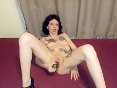 Horny Slut Lucy pleasure her pussy with a huge eggplant