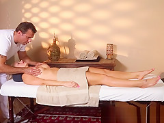 Busty babe gets massaged while being filmed