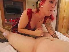 Tattooed Redhead Fucks in an Irish Hotel Room