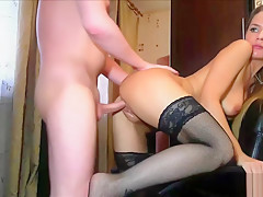 Fucking My Secretary in Stockings at Home