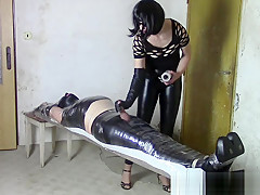 Wife firmly immobilizes her husband