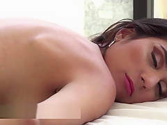 Cheating wife in a hot interracial scene with a masseuse