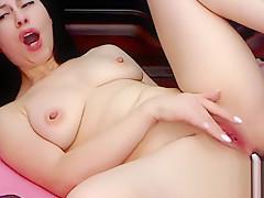 Sally Rain on Flirt4Free - Brunette Euro Hottie Dildos and Fingers Her Ass