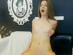 Cute Brunette Babe Playing her Tight Pussy