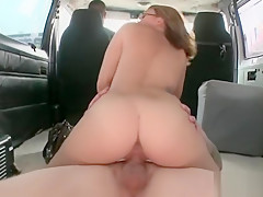 Doggie fucking with redhead in glasses