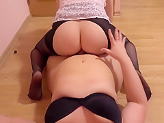 young bbw, and strapon in the ass