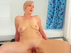 Milf rides taboo dick and gives blowjob and gets fingered