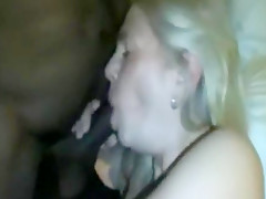Horny white mature slut rides a black cock deeply